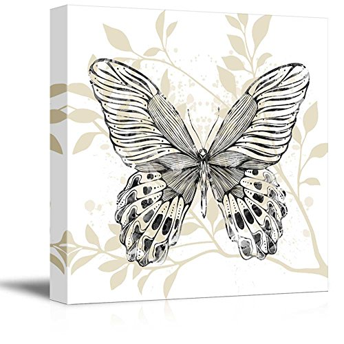 wall26 Square Canvas Wall Art - Butterfly with Leaf Pattern - Giclee Print Gallery Wrap Modern Home Decor Ready to Hang - 24x24 inches ()