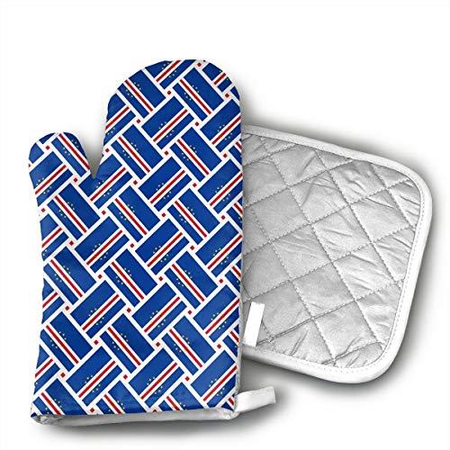 - FIREBOOM Cape Verde Flag Weave Oven Mitt & Potholder Oven Glove Combination Kitchen Safe Heat Resistant Non-Slip.