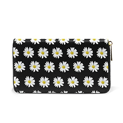Daisy Passport Long Wallets Handbag Zip Around Real Leather Clutch Purse Bag by HangWang