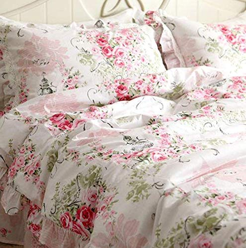 (FADFAY Duvet Cover Set Queen Elegant and Shabby Pink Rosette Floral Bedding with Hidden Zipper Closure 100% Cotton with Floral Bedskirt 4 Pieces Queen Size)