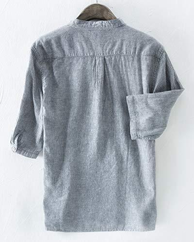 Manica Corta Blu Lino Uomo Da A Righe In Camicia S7TxqpS
