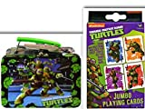4 film favorites ninja turtles - Teenage Mutant Ninja Turtles Unique Game Night & Lunch Or Crafts Storage Bundle- 2 Items: 48 Piece Puzzle in a 3D Molded Tin Lunch Box & Jumbo Playing Cards