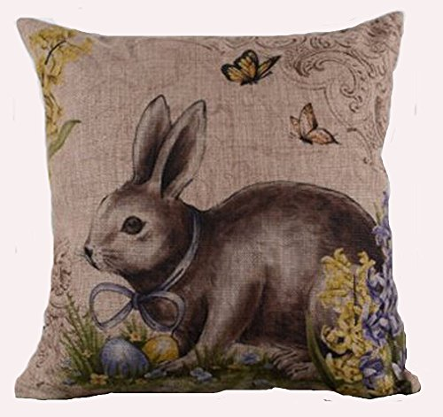Cotton Linen Square Decorative Throw Pillow Case Cushion Cover Happy Easter Retro Smile Rabbit Color Egg and Butterflies 18