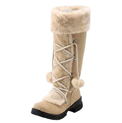 49c2336f81c3 Boomboom Women'Shoes Womens Winter Waterproof Warm Mid Snow Boot Beige