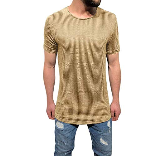 - Hermia Men's Striped Knit Slim Fit Long T-Shirt Short Sleeve Crew Neck Muscle Basic Solid Tee Top Sweatshirts (Color : Khaki, Size : X-Large)