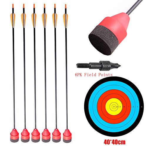 PG1ARCHERY Carbon Larp Arrows Foam Tips Broadhead Feather Fletched with Replaceable Screw-in Field Points and Arrow Target for Archery Practice CS Game Red (30 Inch Target Practice Arrows)