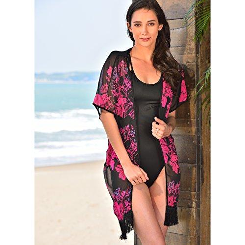 Floral Fringe Chiffon Cardigan Swimsuit
