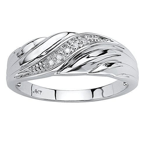 Men's Solid 10K White Gold Diamond Accent Swirled Wedding Band Ring