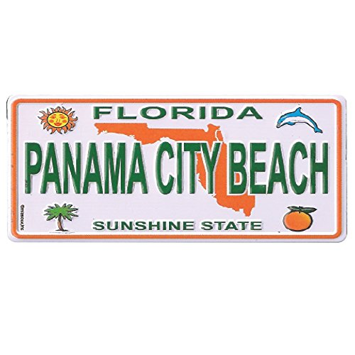 "Magnet Panama City Beach Florida Souvenir 2"" X 1.25"" License Plate Metal Small Fridge Collector's Magnet (Panama City Beach)"