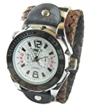 (WAT003) Hand made Classic Design Brown Punk Rock Biker Leather Wristwatch for Men Boys - Adjustable