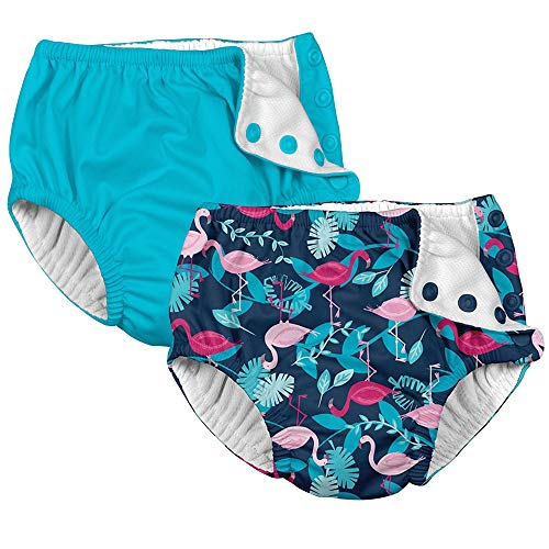 5163bca424 i play 2 Pack Girls Reusable Absorbent Leakproof Swimming Baby Swim Diapers  Flamingos and Aqua Blue