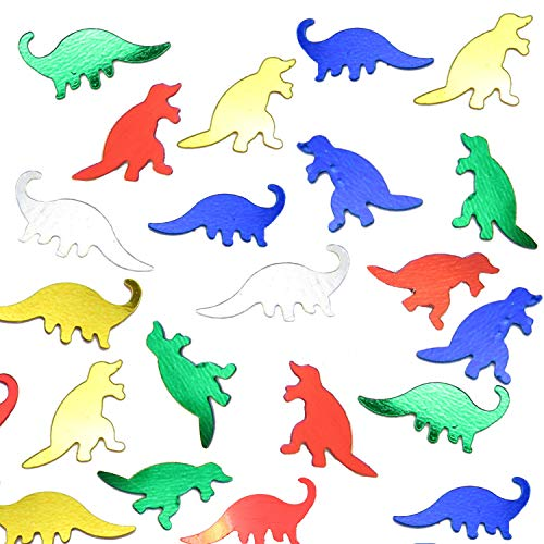 JPACO Dinosaur Confetti (75g, Equal to 1 Cup!) - Metallic Foil Dino Shaped Scatter Perfect for Arts & Crafts, Birthday, Themed Party, Celebrations, and More! for Little Kids, Boys, Children, Girls