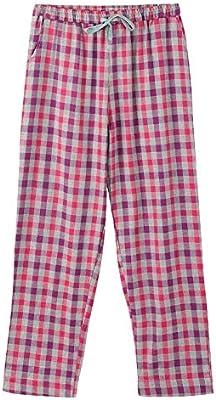 baujuxing Pantalones Sueltos a Cuadros de algodón 100% con Pijamas ...