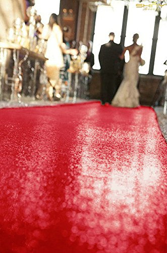 ShinyBeauty Red-Aisle Runner-50FTX4FT,Glitter Sequin Wedding Aisles Floor Runner,Sparkle Carpet Runner (Red) by ShinyBeauty