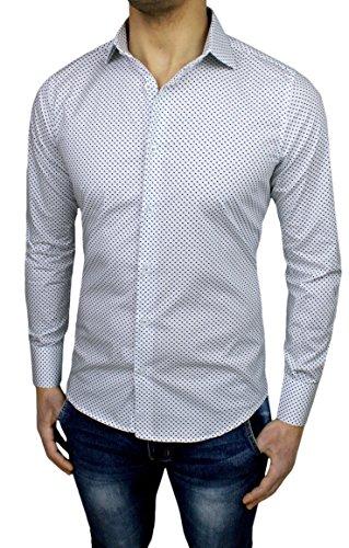 Mat Sartoriale Herren Blusen Freizeit-Hemd weiß Bianco Small