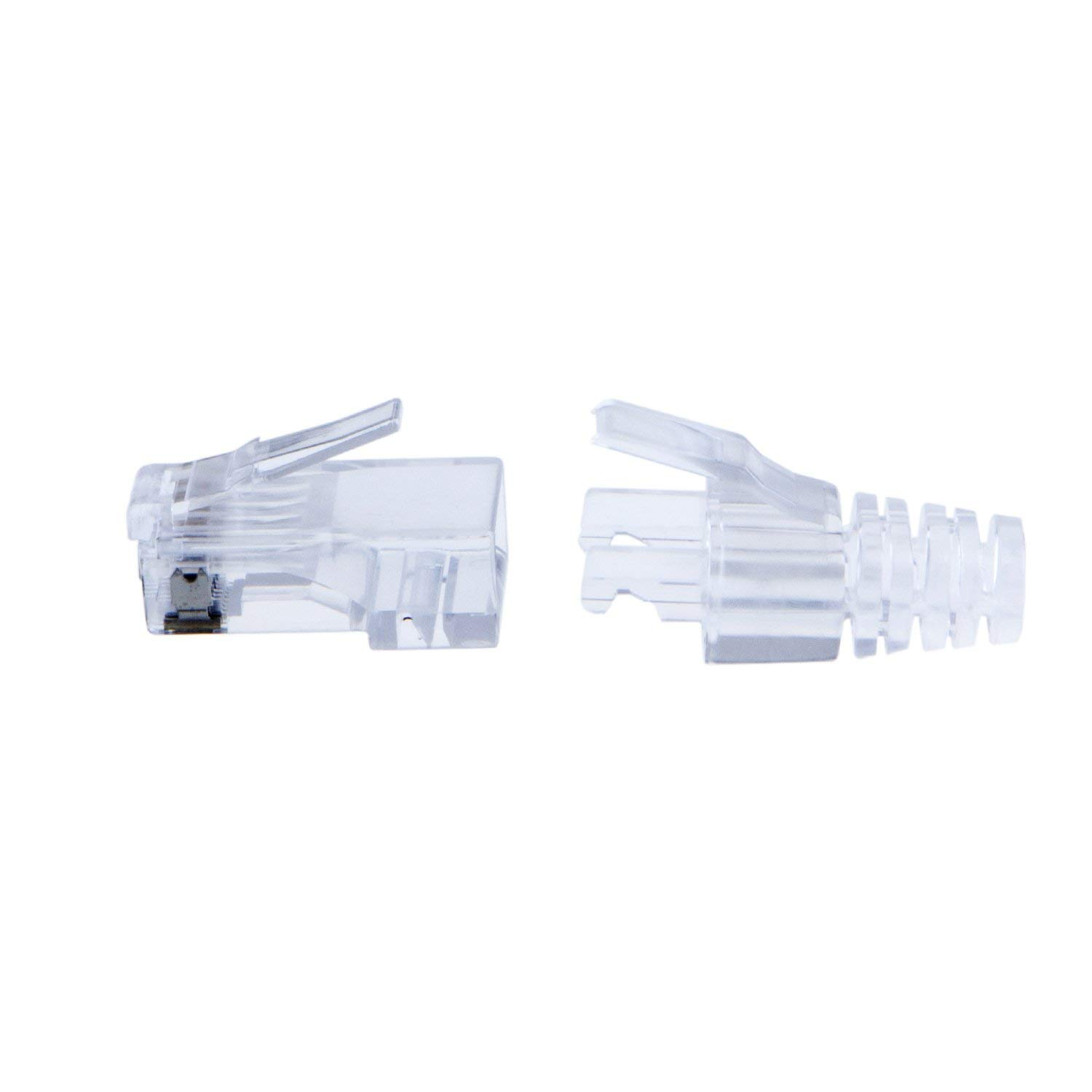 Renewed CableCreation 100-PACK Cat 6 RJ45 Plug with Hood Connector Transparent