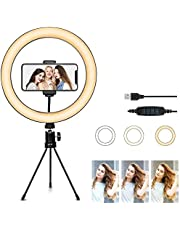"""10"""" Selfie Ring Light with Tripod Stand & Cell Phone Holder for Live Stream/Makeup, Led Camera Ringlight for YouTube Video/Photography Compatible with and Cameras and iPhone Xs Max XR Android"""