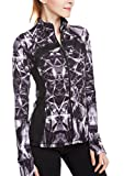 icyzone Women's Stretch Running Workout Yoga Full Zip Jacket with Thumb Holes (M, Lightning)