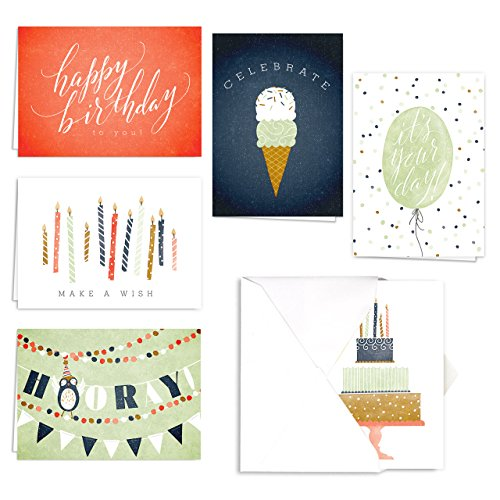 Hooray for Birthdays Card Assortment Pack - Set of 36 cards - 6 of each design, blank inside with white envelopes (Each Design)