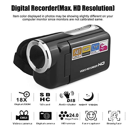 (Yealsha Video Camera Camcorder Digital Recorder, HD 1080P 12 MP 8X Digital Zoom High Speed Camera with Rotatable 2.0