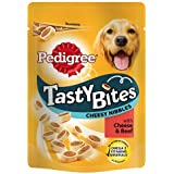 Pedigree Tasty Bites Dog Treats Cheesy Nibbles with Cheese and Beef, 140 g