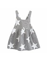 Sumen Baby Girls Sleeveless Beach Sundress Moon Stripe Party Dress