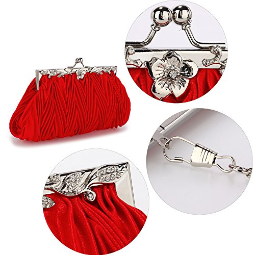 Elegant Elegant Clutch Bag Red UK FREE DELIVERY Crystal Red Evening rqwF5rU