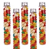 ZMYBCPACK15 Pcs 100ml Clear Plastic Test Tubes with Screw Caps & 1 Cleaning Brush -Flat Bottom Candy Tubes-Jelly Belly Bean Containers-Craft Tubes for Christmas Wedding Party Décor