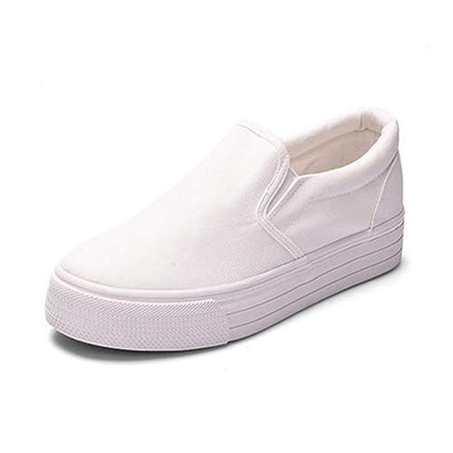 3900e23389494 Plate-Forme de Femmes Flats Toile Chaussures Chaussures Hauteur Augmenter  Fille Confort Slip sur Fond