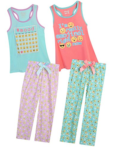 Sleep On It Girls 4 Piece Tank Top and Pant Spring Pajama (2 Full Sets) Emoji, Size 10/12' (Pants Pajamas Shirt)