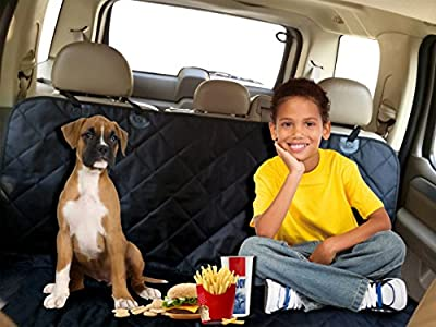 Pet Seat Cover-with Bonus Dog Seat Belt-quilted Hammock to Protect Cars-durable Waterproof Heavy Duty Material, Back Seat Cover with Adjustable Rubber Straps, Guaranteeing Firm Grip During Travel. It Includes a Safety Seat Belt for Keeping Your Dog Safe W