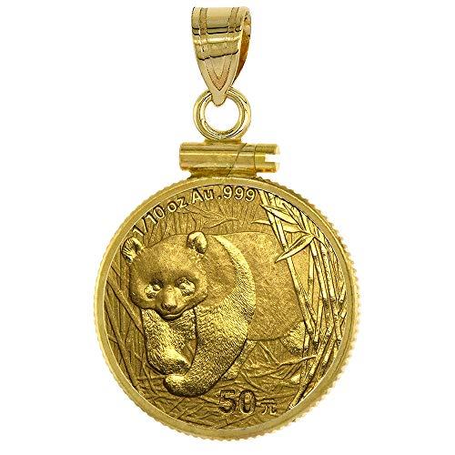 (Sabrina Silver 14k Gold 1/10 Gold Panda Bezel Plain 18mm Coin Screw Top)