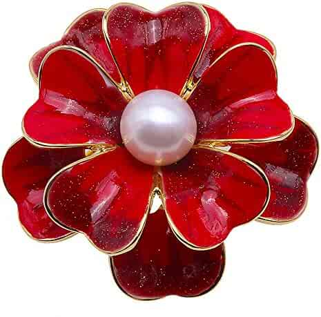bbeb13adcdb JYX Pearl Flower Brooch White 10mm Freshwater Cultured Pearl Pin Brooches