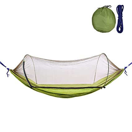 Camp Sleeping Gear Camping Hammock With Mesh Cover Outdoor Mosquito Net Parachute Hammock Camping Hanging Sleeping Bed Swing