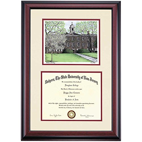 - Campus Linens Rutgers Scarlet Knights Diploma Frame Ivory Maroon Matting Watercolor