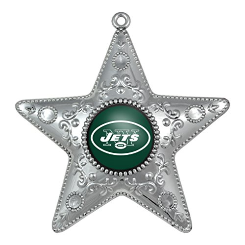 NFL New York Jets Silverstar Ornament