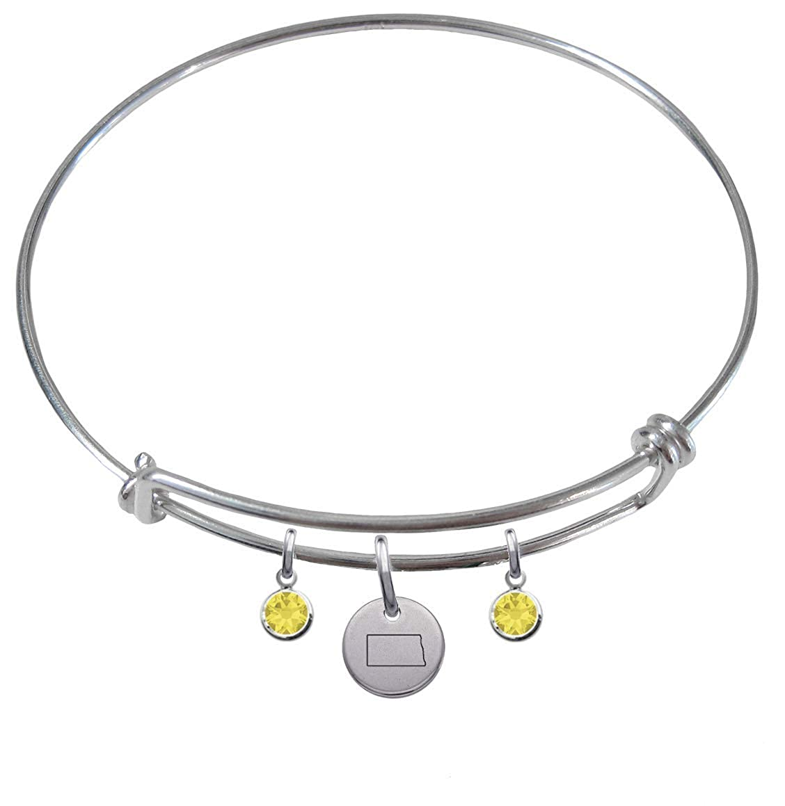 CustomCharms North Dakota State Expandable Wire Charm Bracelet Bangle w//Yellow Color Crystals