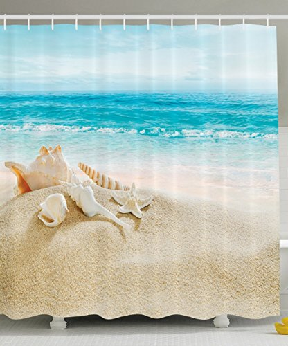 Ambesonne Ocean Decor Collection, Starfish Seascape Sea Beach Picture  Print, Bathroom Set Fabric Shower Curtain With Hooks, Blue/Sand White