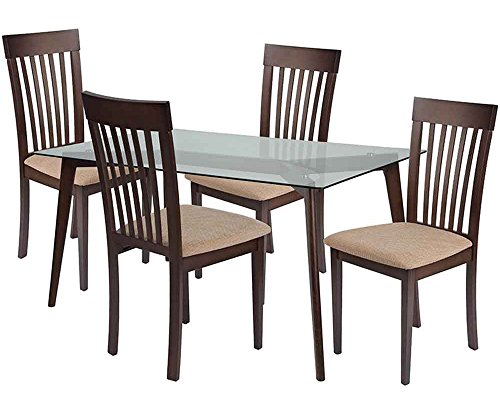 Flash Furniture Hughson 5 Piece Espresso Wood Dining Table Set with Glass Top and Rail Back Wood Dining Chairs - Padded Seats - Beechwood Fan Back Chair