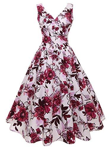 GAESHOW 1950s Retro Dress Floral Printed Hepburn Sleeveless Vintage Prom Dress for Women (XL, Rose)