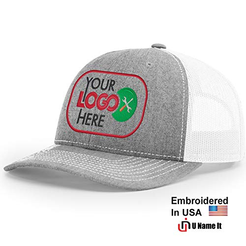 Custom Richardson 112 Hat with Your Logo Embroidered Trucker Mesh Snapback Cap (Adjustable Snapback Split Colorway, Heather Grey/White)