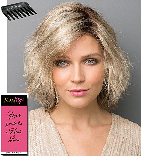 (Zuma Shaggy Salon Cut Color Creamy Toffee Rooted - Noriko Wigs Women's Synthetic Wavy Curls Monopart Cap with Lace Front Layered Beach Style Bundle with MaxWigs Costume Wig Care Guide)