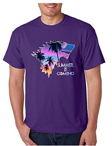 Allntrends Men's T Shirt Summer Is Coming Love Summer Popular Trendy Tee (L, Purple)