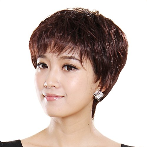 Gooaction New Stylish Elegant Able Woman Fluffy Short Straight OL Wig 100% real Human Hair Replacement