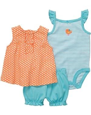 Diaper Cover Set - Orange/White Dot-NB