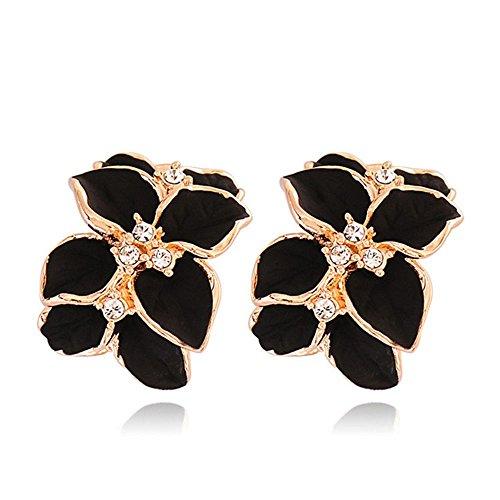 Lovely Gold Plated - Idlespace Rhinestone Fashion Jewelry Gold Plated Lovely Crystal Gardenia Flower Ear Stud Earrings with Buckle Black Gardenia Flower White Enamel Ear Buckle