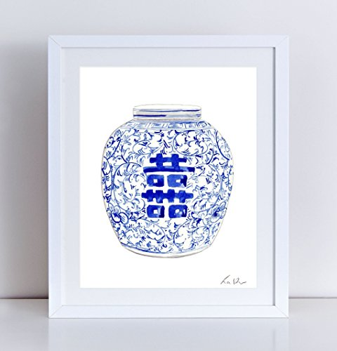 Blue and White China Ginger Jar Vase No. 8 Giclee Print of Watercolor 8 x 10, 11 x 14 inches Fine Art Poster Chinoiserie Chinese Ceramics Ming Double Happiness Symbol - Bamboo Jar Ginger