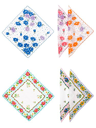 Women's Two Sets of Floral Prints (Daisies and Poppies) 100% Cotton Handkerchiefs with Scalloped Edge 12-Piece Bundle