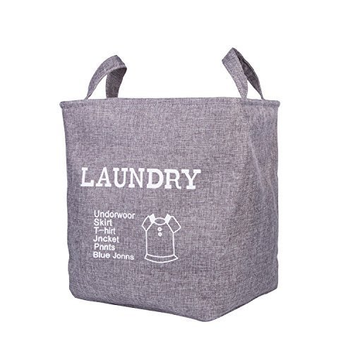 Foldable Laundry Hampers Home Storage Bins Shelf Baskets Clothes Organizer Bin with Handle (Gray)