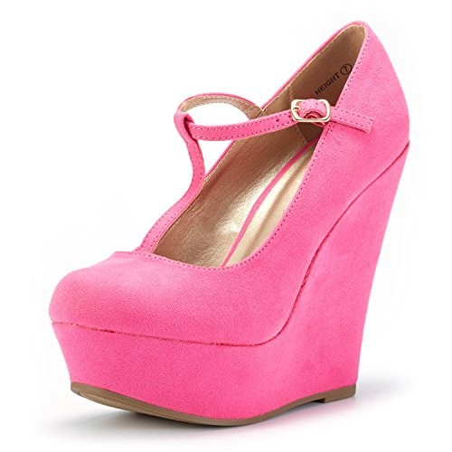 Women Wedge Fuchsia - DREAM PAIRS Wedge-Height Fuchsia Suede Mary Jane Platform Wedges Shoes for Women Size 8.5 B(M) US
